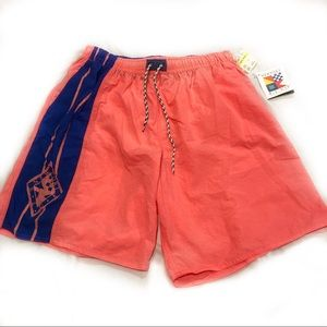 NWT Vintage 90s Neon Mens Bathing Suit Swim Trunks